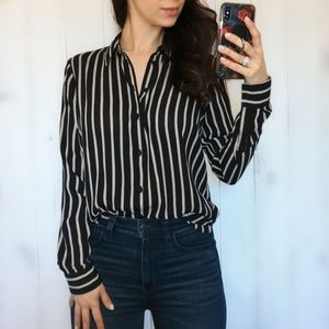 Black and Tan Button Down Top